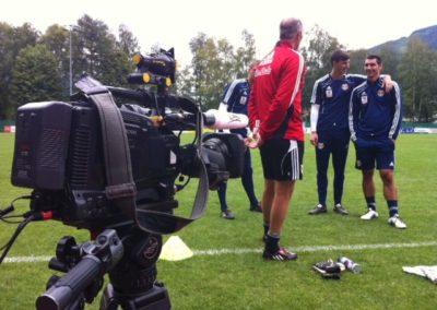 ServusTv (redbullmedia) Trainingslager Fussball Bundesliga RedBull Salzburg in Leogang/Salzburg